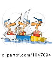 Royalty Free RF Clip Art Illustration Of Cartoon Guys Sailing by toonaday