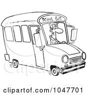 Cartoon Black And White Outline Design Of A School Bus Driver