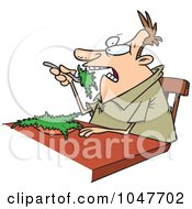 Royalty Free RF Clip Art Illustration Of A Cartoon Guy Eating Salad by toonaday