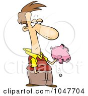 Royalty Free RF Clip Art Illustration Of A Cartoon Guy Reaching Into His Piggy Bank by toonaday