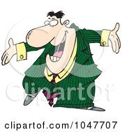 Royalty Free RF Clip Art Illustration Of A Cartoon Pushy Businessman by toonaday