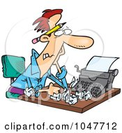 Royalty Free RF Clip Art Illustration Of A Cartoon Tired Screenwriter
