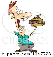 Royalty Free RF Clip Art Illustration Of A Cartoon Guy Eating A Sandwich