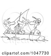 Royalty Free RF Clip Art Illustration Of A Cartoon Black And White Outline Design Of Guys Sailing by toonaday