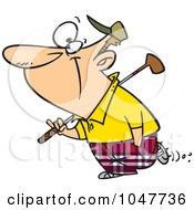 Royalty Free RF Clip Art Illustration Of A Cartoon Golfing Guy