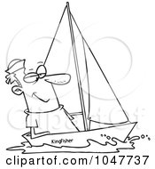 Royalty Free RF Clip Art Illustration Of A Cartoon Black And White Outline Design Of A Guy Sailing