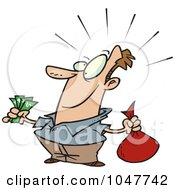 Royalty Free RF Clip Art Illustration Of A Cartoon Guy With A Lot Of Savings