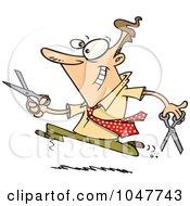 Royalty Free RF Clip Art Illustration Of A Cartoon Businessman Running With Scissors