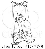 Royalty Free RF Clip Art Illustration Of A Cartoon Black And White Outline Design Of A Puppet Man