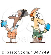 Royalty Free RF Clip Art Illustration Of A Cartoon Puzzled Business Man And Woman