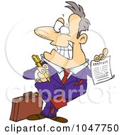 Royalty Free RF Clip Art Illustration Of A Cartoon Salesman Holding A Contract by toonaday