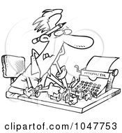 Royalty Free RF Clip Art Illustration Of A Cartoon Black And White Outline Design Of A Tired Screenwriter