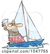 Royalty Free RF Clip Art Illustration Of A Cartoon Guy Sailing