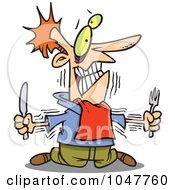 Royalty Free RF Clip Art Illustration Of A Cartoon Hungry Man With No Self Control by toonaday