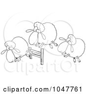 Royalty Free RF Clip Art Illustration Of A Cartoon Black And White Outline Design Of A Herd Of Sheep Leaping A Fence by toonaday