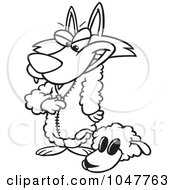 Royalty Free RF Clip Art Illustration Of A Cartoon Black And White Outline Design Of A Wolf Dressing In Sheeps Clothing by toonaday