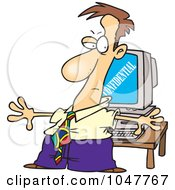 Royalty Free RF Clip Art Illustration Of A Cartoon Businessman Shielding Confidential Information On A Computer