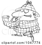 Royalty Free RF Clip Art Illustration Of A Cartoon Black And White Outline Design Of Sherlock Holmes by toonaday
