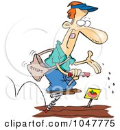 Royalty Free RF Clip Art Illustration Of A Cartoon Guy Seeding His Garden On A Pogo Stick by toonaday