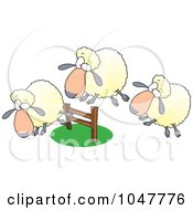 Royalty Free RF Clip Art Illustration Of A Cartoon Herd Of Sheep Leaping A Fence by toonaday
