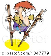 Royalty Free RF Clip Art Illustration Of A Cartoon Shaky Businessman Using Stilts