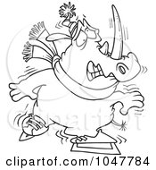 Royalty Free RF Clip Art Illustration Of A Cartoon Black And White Outline Design Of A Shaky Ice Skating Rhino by toonaday
