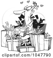 Royalty Free RF Clip Art Illustration Of A Cartoon Black And White Outline Design Of A Guy Giving Himself Gifts