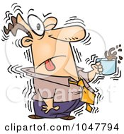 Cartoon Shaky Businessman With Coffee