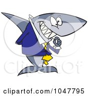 Royalty Free RF Clip Art Illustration Of A Cartoon Business Shark Picking His Teeth by toonaday