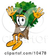 Clipart Picture Of A Tree Mascot Cartoon Character Jumping