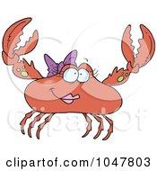 Royalty Free RF Clip Art Illustration Of A Cartoon Female Crab