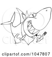 Royalty Free RF Clip Art Illustration Of A Cartoon Black And White Outline Design Of A Hungry Shark by toonaday