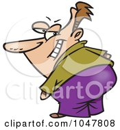 Royalty Free RF Clip Art Illustration Of A Cartoon Secretive Guy