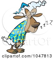 Royalty Free RF Clip Art Illustration Of A Cartoon Tired Sleepless Sheep by toonaday