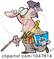 Royalty Free RF Clip Art Illustration Of A Cartoon Senior College Student by toonaday