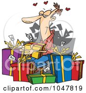 Royalty Free RF Clip Art Illustration Of A Cartoon Guy Giving Himself Gifts