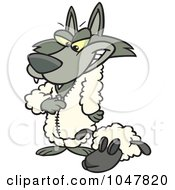 Royalty Free RF Clip Art Illustration Of A Cartoon Wolf Dressing In Sheeps Clothing by toonaday
