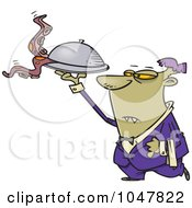 Royalty Free RF Clip Art Illustration Of A Cartoon Vampire Waiter by toonaday