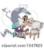 Cartoon Shadow Monster Over A Man On A Computer