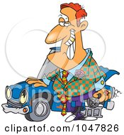 Royalty Free RF Clip Art Illustration Of A Cartoon Shifty Car Salesman