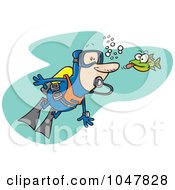 Royalty Free RF Clip Art Illustration Of A Cartoon Fish Sticking His Tongue Out At A Scuba Diver