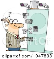 Royalty Free RF Clip Art Illustration Of A Cartoon Guy At A Secure Entry