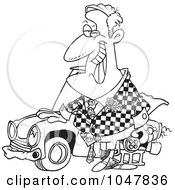 Cartoon Black And White Outline Design Of A Shifty Car Salesman