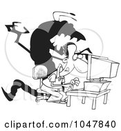 Cartoon Black And White Outline Design Of A Shadow Monster Over A Man On A Computer