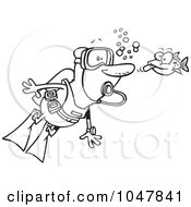 Royalty Free RF Clip Art Illustration Of A Cartoon Black And White Outline Design Of A Fish Sticking His Tongue Out At A Scuba Diver