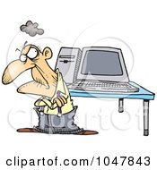 Cartoon Old Geezer With A Computer