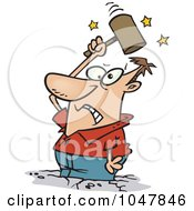 Royalty Free RF Clip Art Illustration Of A Cartoon Man Beating Himself With A Hammer by toonaday
