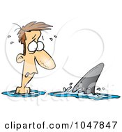 Royalty Free RF Clip Art Illustration Of A Cartoon Shark Circling A Man by toonaday