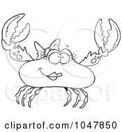 Royalty Free RF Clip Art Illustration Of A Cartoon Black And White Outline Design Of A Female Crab