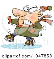 Royalty Free RF Clip Art Illustration Of A Cartoon Shaky Ice Skater by toonaday